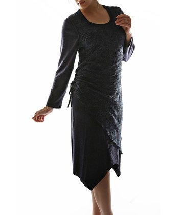 Navy Blue Layered Scoop Neck Dress - Plus