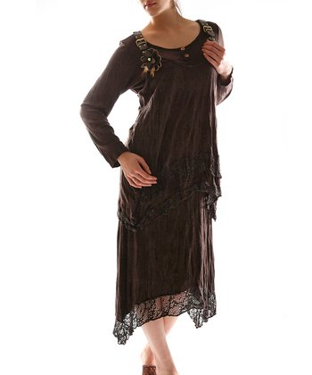 Brown Overall Layered Dress - Plus
