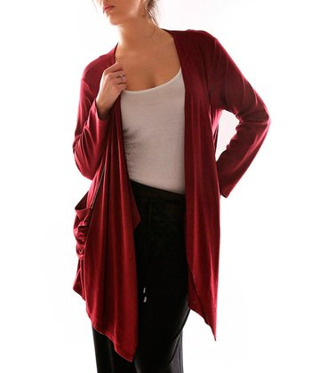 Burgundy Open Duster - Plus