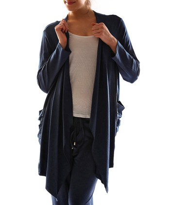 Navy Blue Open Duster - Plus