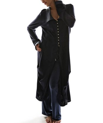 Navy Blue Button-Up Duster - Plus