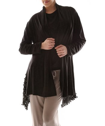 Black Fringe Open Cardigan - Plus