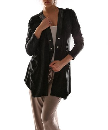 Black Modern Open Cardigan - Plus