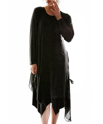 Black Handkerchief Dress - Plus