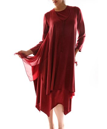 Burgundy Handkerchief Dress - Plus