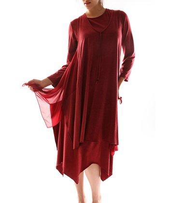 Burgundy Handkerchief Dress - Plus