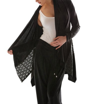 Black Cutout Open Cardigan - Plus