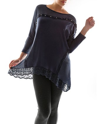 Navy Blue Crocheted Sidetail Top - Plus