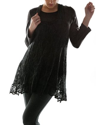 Black Crocheted Layered Tunic - Women