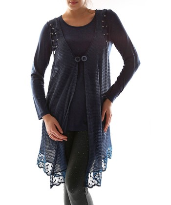 Navy Blue Double-Button Layered Top - Plus