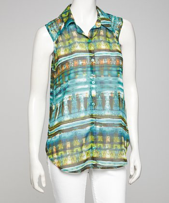 Teal & Brown Embellished Sleeveless Top