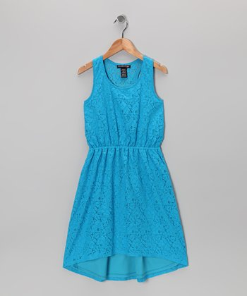 Charming Blue Lace Dress - Girls