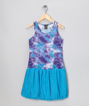 Charming Blue Tie-Dye Lace Dress