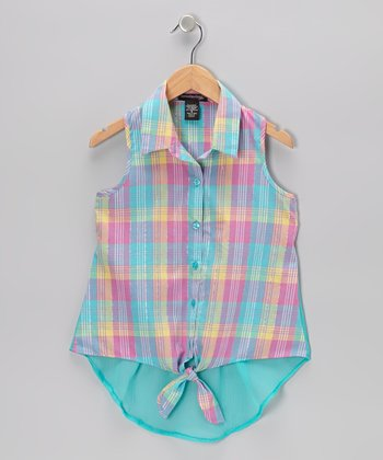 Turquoise Plaid Tie Sleeveless Button-Up