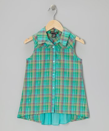 Green Plaid Sleeveless Button-Up