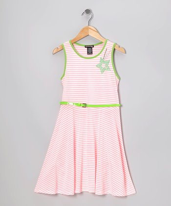 Pink Floral Stripe Dress