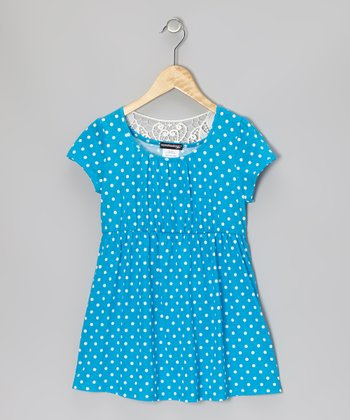 Turquoise & White Polka Dot Dress - Girls