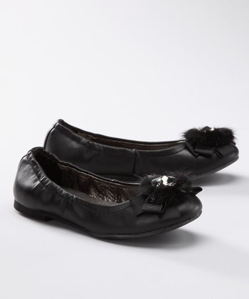 Black Leather Loni Ballet Flat