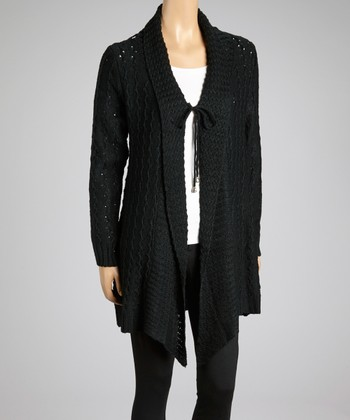 Black Crocheted Shawl Collar Duster