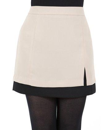 Beige & Black Skirt