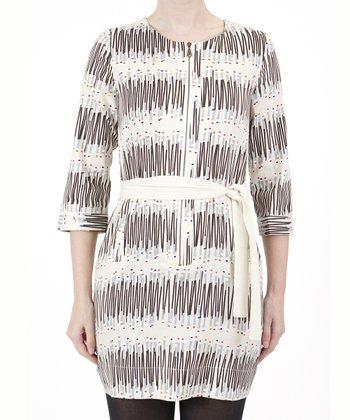 Beige Abstract Tie-Waist Dress