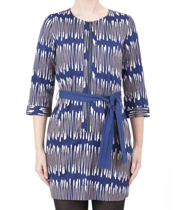 Blue Abstract Tie-Waist Dress