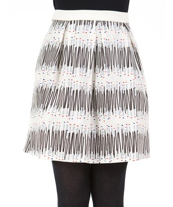 Beige Abstract Skirt