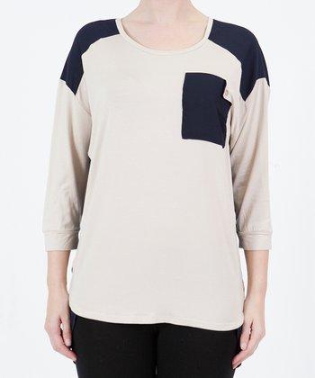 Beige Color Block Sweater