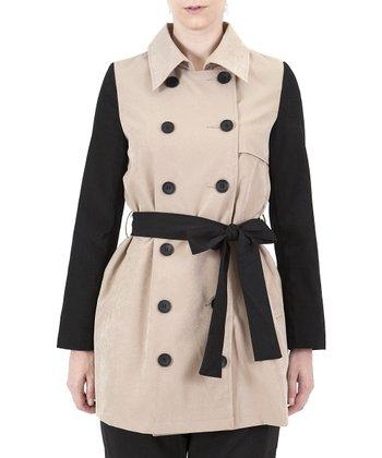 Beige Color Block Trench Coat