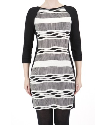 White & Black Abstract Dress