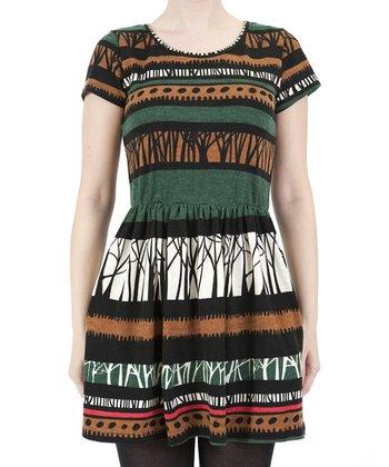 Green Abstract Stripe Dress