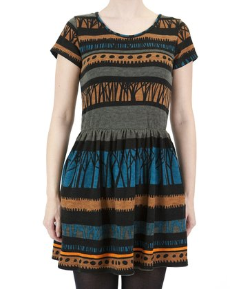Blue Abstract Stripe Dress