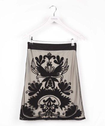 Black Flourish A-Line Skirt