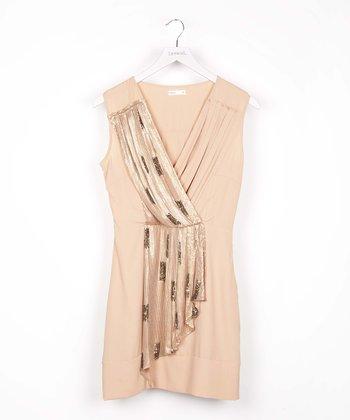 Pink Sequin Surplice Dress