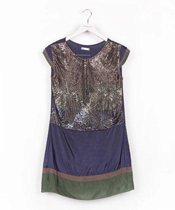 Blue & Green Sequin Color Block Dress