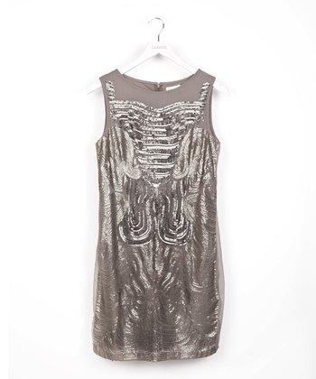 Gray Sequin Wave Dress
