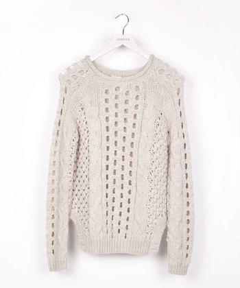 Beige Cutout Wool-Blend Sweater