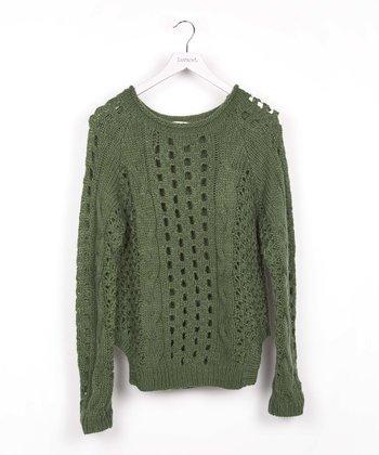 Green Cutout Wool-Blend Sweater