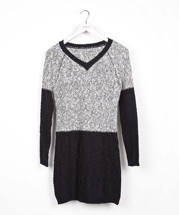 Black Color Block V-Neck Dress