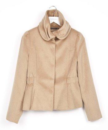 Brown Cowl Neck Jacket
