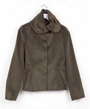 Green Cowl Neck Jacket