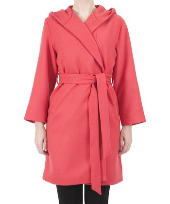 Red Wrap Trench Coat