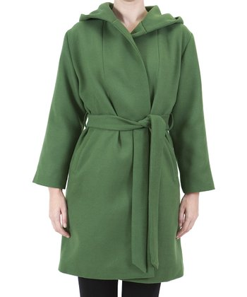 Green Wrap Trench Coat