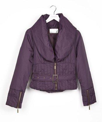 Purple Belted Puffer Jacket