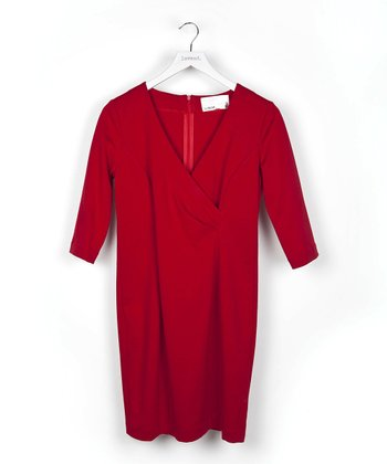Red Three-Quarter Sleeve Surplice Dress