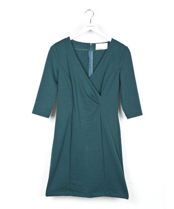 Green Three-Quarter Sleeve Surplice Dress