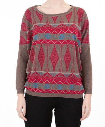 Brown Tribal Sweater