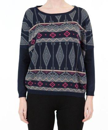 Blue Tribal Sweater