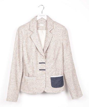 Beige Wool-Blend Blazer