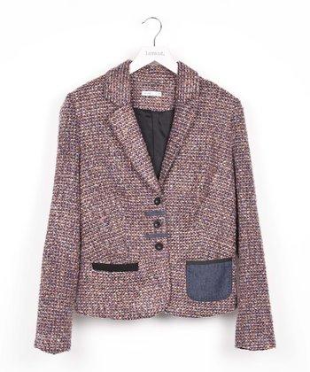 Purple Wool-Blend Blazer
